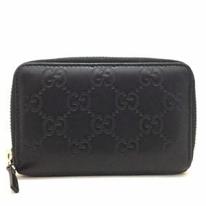 GUCCI Black Leather GG Shima Zip-Around Wallet